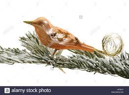 Kupfer Christbaumschmuck Vogel Auf Tief Verschneiten Tannen