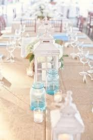 Blue Mason Jars Wedding Decor blue mason jar beach wedding centerpieces Deer Pearl Flowers 9