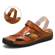 <b>Men</b> Hand Stitching Closed Toe Comfy <b>Soft Leather</b> Sandals ...