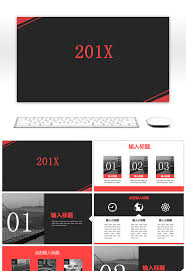 Awesome Classic Red Black Business Ppt Template For