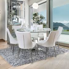 delilah 5 pc contemporary white 50 gl top dining set w mirrored base