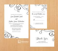 Swirls Templates Abstract Ribbon Swirls Invitation Set Wedding Invitation