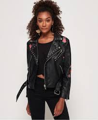 womens embellished black leather jacket