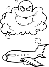 Small Picture Airplane Flying Through Storm Clouds Cartoon Coloring Page