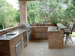 exterior: Captivating Brick Styled Backyard Bars Designs Completed With  Square Sink Near With Classic Stove