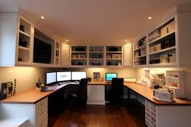 Small Home Office Flaunting U Shaped Computer Desk For Two Person With Wall  Shelving Unit,