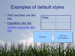 5 examples of default styles text and lines are like this hyperlinks like this visited hyperlinks like this table text box with shadow text box with shadow
