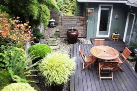 Lawn & Garden:Interesting Small Garden In Backyard With Brick Stone Wall  And White Glass