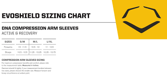 Arm Sleeve Size Chart Evoshield Recovery Dna Compression Arm Sleeve