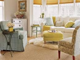 attractive design livingroom decorating ideas for small space yellow with white sofas beside wooden coffee table