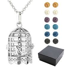 details about silvery hollow birdcage locket lava rock gemstone beads pendant necklace gift