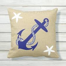 blue anchor white starfish nautical burlap outdoor cushion pillows pillow covers