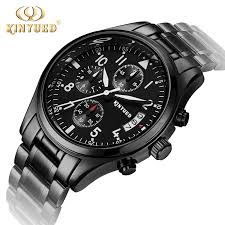 compare prices on mens watch black metal online shopping buy low kinyued brand good quality men watches metal all black quartz mens watch day calendar leather strap