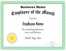 Employee Of The Month Certificate Templates Employee Of The Month Certificate Template Colesecolossus Free