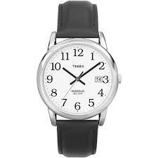 timex men s easy reader watch black leather strap walmart com timex men s easy reader watch black leather strap