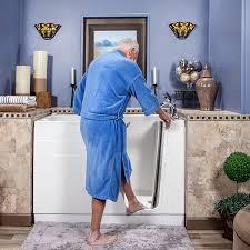 senior man using walk in tub