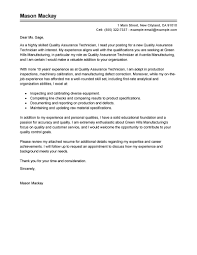 Quality Assurance Cover Letter Sample Quality Assurance Specialist