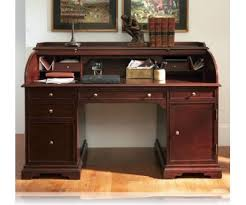 cherry finish wood modern contemporary styling roll top desk with short top home office furniture cherry finished