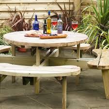 grange round wooden 8 seat garden picnic tables