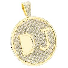 custom 10k yellow gold diamond dj pendant for men with initials 6 5ct yellow image