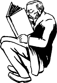 clipart book reading man image library