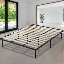 Platform Bed Frame Mattress Foundation Full Size Metal Bed Base Heavy Duty Wood
