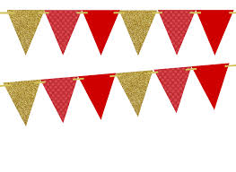 Triangle Banner Gold Glitter Large Red Dots Solid Red 10ft Vintage Pennant Banner Paper Triangle Bunting Flags For Weddings Birthdays Baby Showers Events Parties