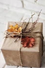 rustic autumn leaves twigs and kraft paper gift wrap