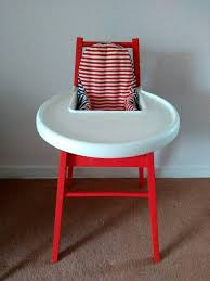 ikea wooden high chair with tray and support cushion