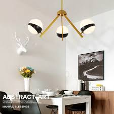 3 light modern contemporary nordic style ceiling lights chandelier with black and white glass shade