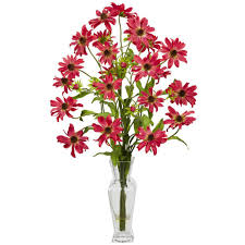 h red cosmos with vase silk flower arrangement