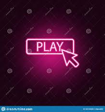 Simple Graphic Design Online Cursor Play Neon Icon Elements Of Online And Web Set