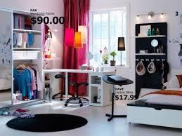 ikea-teen-room: red curtains, black rug, wall unit