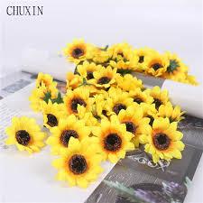 Autumn Decoration <b>13 Heads</b> Yellow Sunflower Silk Artificial ...