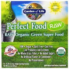 garden of life perfect food raw organic green super food original 15 packets 0 24 oz 7 g each iherb com