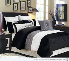 Contemporary Beige Natural Bedroom with Black Grey White Queen ... & Contemporary Beige Natural Bedroom with Black Grey White Queen Bedding Set,  One Drawer Black Wooden Adamdwight.com