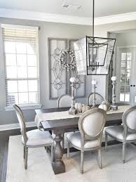 awesome dining room design ideas with latest glass pendant light above wood long table furniture and grey wall paint color schemes also using unique chairs