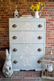 stenciling furniture ideas. Painted Furniture Ideas Stenciled Chest Of Drawers With Postcards From The Ridge HPXHDDA Stenciling