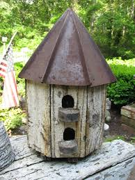 Rustic Birdhouses Details About Wonderful Octagon Shaped Tin Roof Birdhouse In Worn