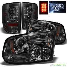 For Smoked 09 14 Dodge Ram Halo Led Projector Headlights Led Tail Lamp Lights Dodge Truck Accessories Ram Trucks Accessories Dodge Ram 1500 Accessories