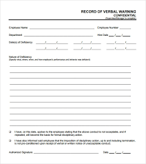 Written Verbal Warning Sample Verbal Warning Form Template