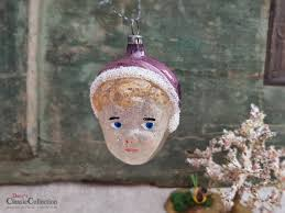 Schöne Alte Christbaumkugel Mädchen Gesicht Kopf Mit Mütze