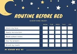 Bedtime Reward Chart Navy Blue Starry Night Bedtime Reward Chart Templates By Canva