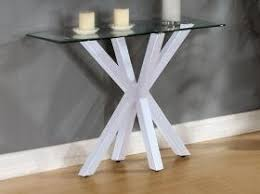 glass hallway table. modern glass console table with high shine base, hallway table, hallway/living