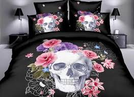 3d skull with pink flowers printed black polyester bedding sets duvet cover