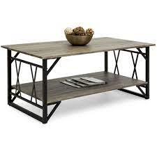 modern metal and wooden coffee table
