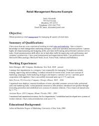 Sample Retail Resume Skills No Experience Operations Manager