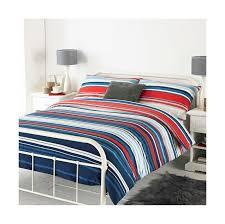 lymington king bed duvet set bluee red and white striped design 2