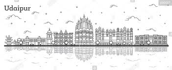 Outline Udaipur India City Skyline With Historical Buildings And