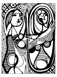 Small Picture Picasso girl before a mirror 1932 Master pieces Coloring pages